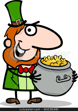 Leprechaun with gold cartoon illustration stock vector clipart, Cartoon Illustration of Happy Leprechaun with Pot of Gold on St Patrick Day Holiday by Igor Zakowski