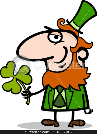 Leprechaun with clover cartoon illustration stock vector clipart, Cartoon Illustration of Happy Leprechaun with Green Clover or Trefoil on St Patrick Day Holiday by Igor Zakowski