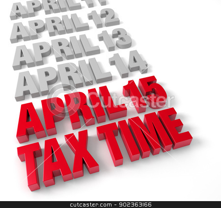 Tax Time April 15th stock photo, Row of days in April in muted gray leading up to