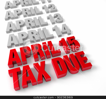 April 15th Tax Due stock photo, Row of days in April in muted gray leading up to