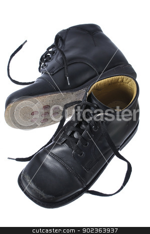 Orthopedic shoes stock photo, Child's black custom orthopedic dress shoes isolated on white by Chad Zuber