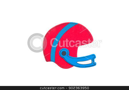 Football helmet stock photo, Red and blue football helmet isolated on white. by Tammy Abrego