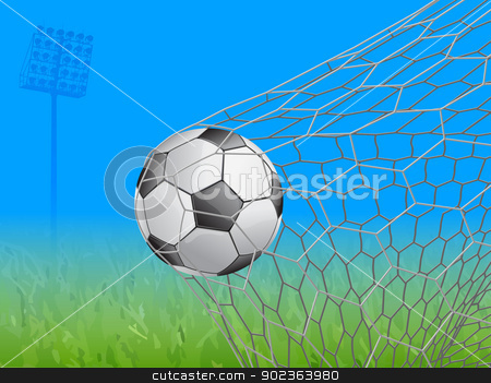 soccer ball in goal - vector illustration stock photo, Association football, commonly known as football or soccer, is a sport played between two teams of typically eleven players, the game was played by over 250 million players in over 200 countries by Sailom