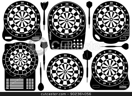 Set Of Electronic Dartboards stock vector clipart, Set of electronic dartboards isolated on white by Ioana Martalogu