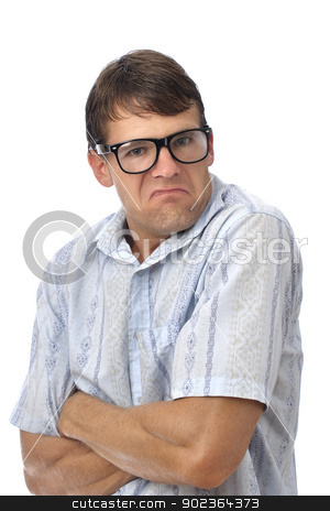 Pouty nerd stock photo, Male nerd with glasses makes pouty face on white background by Chad Zuber