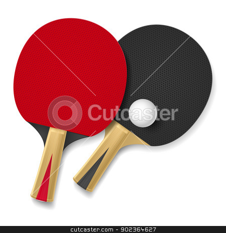 Rackets stock photo, Two rackets for playing table tennis.  Illustration on white background by dvarg