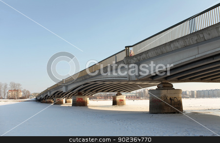 winter bridge stock photo, Bridge over frozen waters by mrivserg