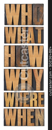 who, what, how, why, where, when, questions stock photo, who, what, how, why, where, when, questions  - brainstorming or decision making concept - a collage of isolated words in vintage letterpress wood type arranged in a tall column by Marek Uliasz