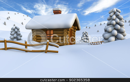 Log cabin in snow stock photo, 3D illustration of a cute little wooden hut in the middle of snowy countryside by Harvepino