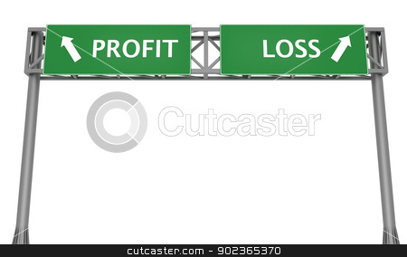 Profit or Loss stock photo, Highway signs profit and loss pointing in the opposite directions by Harvepino