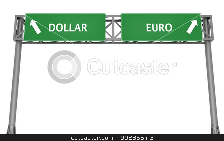 Dollar versus Euro stock photo, Highway sign displaying Dollar and Euro in opposite direction by Harvepino
