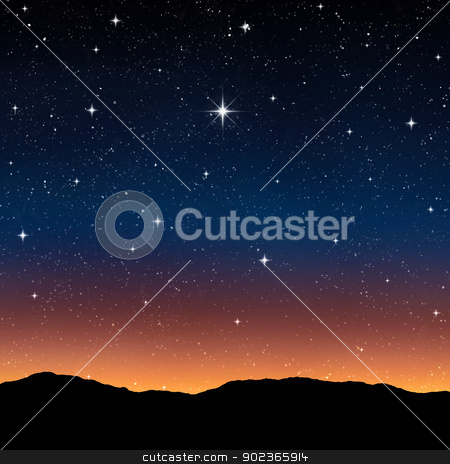 starry sky at night stock photo, starry sky at night with bright wishing star by Phil Morley