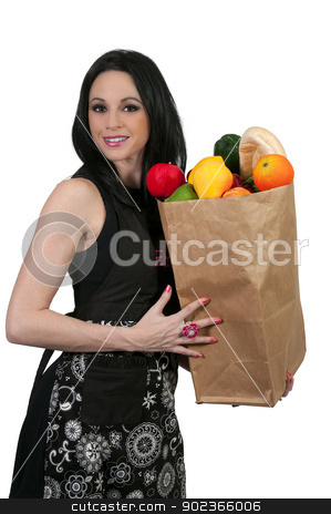 Woman Shopping Bags stock photo, Beautiful young woman with a brown paper shopping bag by Robert Byron