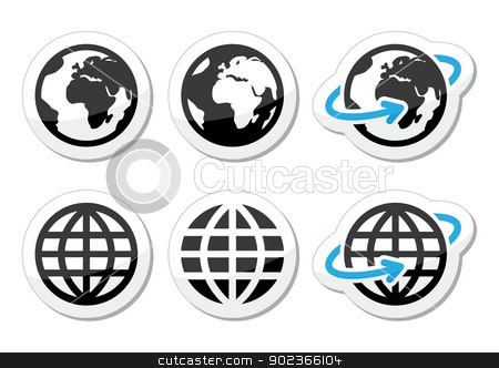 Globe earth vector icons set with reflection stock vector clipart, World, map of continents black and blue lables isolated on white  by Agnieszka Murphy