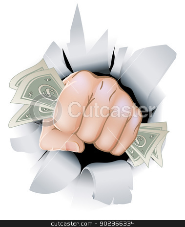 Cash fist breaking through wall stock vector clipart, A fist full of paper money money, dollars, smashing through the background, or wall.  by Christos Georghiou