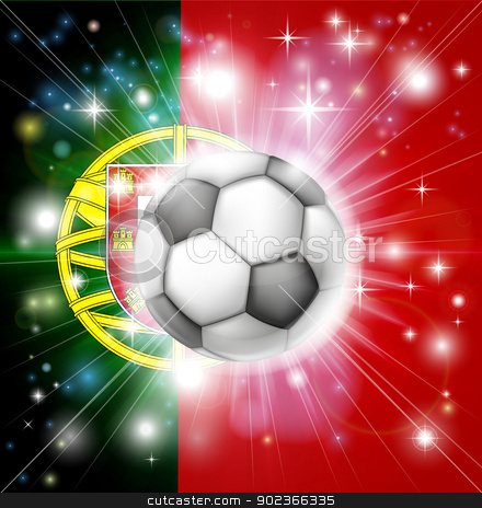 Portugal soccer flag stock vector clipart, Flag of Portugal soccer background with pyrotechnic or light burst and soccer football ball in the centre  by Christos Georghiou