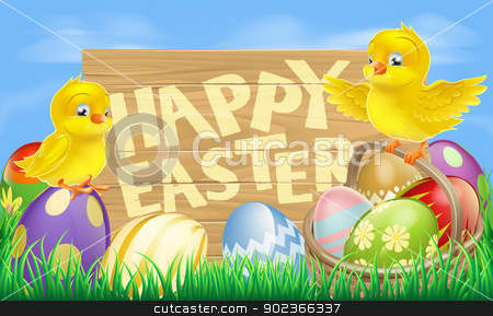 Happy Easter Sign stock vector clipart, Drawing of an Easter sign reading Happy Easter surrounded by Easter eggs and yellow cartoon Easter chicks by Christos Georghiou