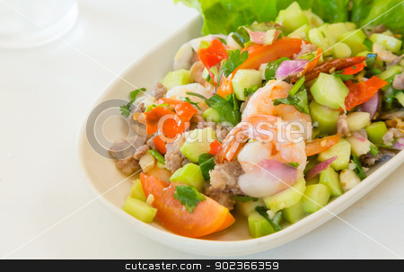 kale with prawn salad thai food stock photo, thai food kale with prawn salad on white table by moggara12