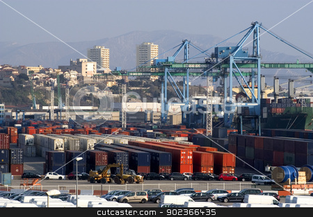 containers at the port for shipment stock photo, containers at the port for shipment by Paire