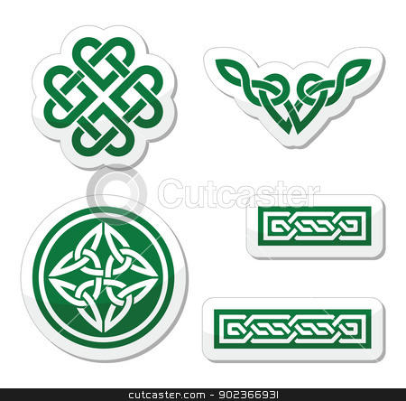 Celtic green knots, braids and patterns - vector stock vector clipart, Set od traditional Celtic symbols isolated on white by Agnieszka Bernacka