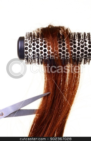Hair stock photo, Image of hair white curler on white background by zuzanaderek