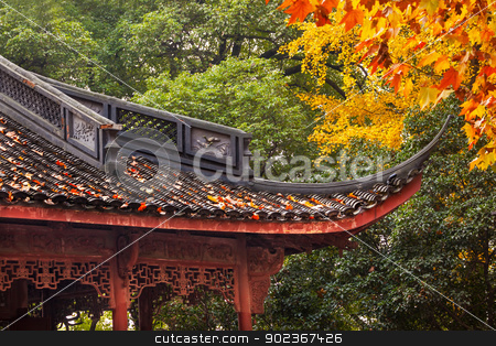 Ancient Chinese House Roof Autumn Leaves Tree West Lake Hangzhou stock photo, Ancient Chinese House Roof Autumn Leaves Tree West Lake Hangzhou Zhejiang China. by William Perry