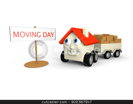 Moving house stock photo, Happy little house on wheels is its moving day by Harvepino