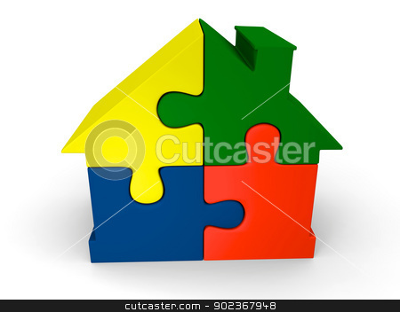 Puzzle house stock photo, House symbol made of four colorful puzzle pieces by Harvepino