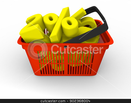 Shopping basket full of discounts stock photo, 3D illustration of empty red plastic shopping basket by Harvepino