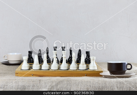 Chess stock photo, Chess Pieces Are Placed And Ready For The Game by Sergej Razvodovskij