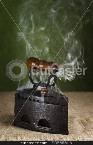 Hot Retro Iron  stock photo, Steaming Hot Retro Iron On The Canvas by Sergej Razvodovskij