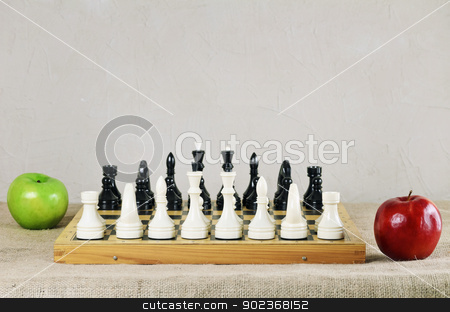 Chess stock photo, Chess Pieces Are Placed And Ready For The Battle by Sergej Razvodovskij