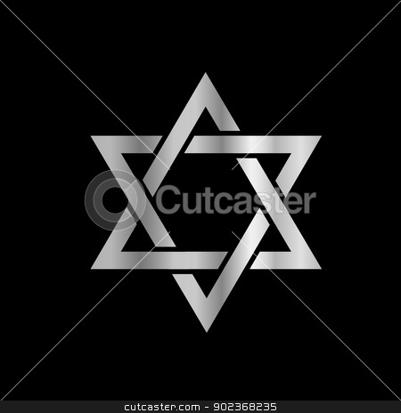 Silver Star of David- Jewish stock vector clipart, Silver Star of David- Jewish by DoReMe