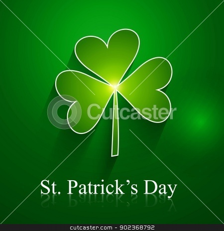 abstract st patrick day shiny single leaf vector design stock vector clipart, abstract st patrick day shiny single leaf vector design by bharat pandey