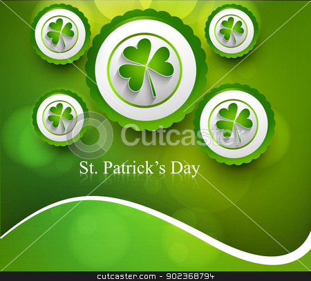 St. Patrick's Day icon colorful wave background Vector illustrat stock vector clipart, St. Patrick's Day icon colorful wave background Vector illustration by bharat pandey