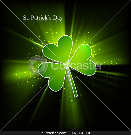 St. Patrick's Day single leaf colorful green swirl wave eps10 ba stock vector clipart, St. Patrick's Day single leaf colorful green swirl wave eps10 background Vector  by bharat pandey