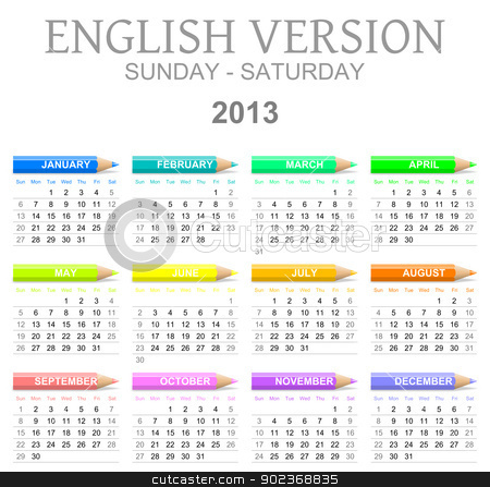 2013 crayons calendar english version sun - sat stock photo, Colorful sunday to saturday 2013 calendar with crayons english version illustration by make