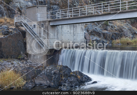 river diversion dam stock photo, diversion dam on Big Thompson RIver in Rocky Mountains near Loveland, Colorado by Marek Uliasz