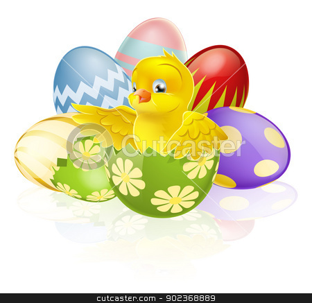 Easter chick in egg stock vector clipart, An illustration of a cartoon yellow Easter chick hatching out of a broken Easter egg with more chocolate decorated Eater eggs in the background by Christos Georghiou