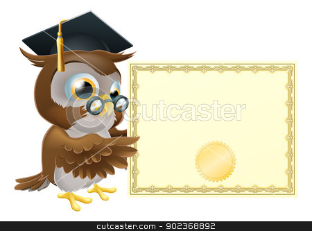 Owl diploma certificate background stock vector clipart, Illustration of a cute owl character in professor's or graduate's mortar board pointing at a diploma certificate background with copyspace by Christos Georghiou