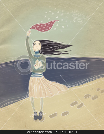 long-awaited meeting stock photo, vintage illustration. long-awaited meeting. young girl meets a loved one with war. raster illustration. by Natalia Konstantinova