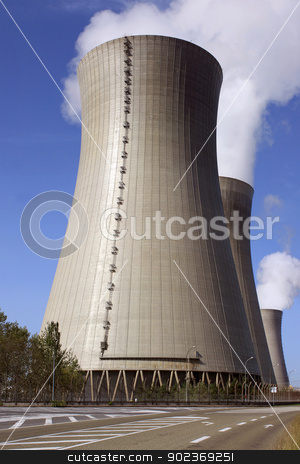 Nuclear stock photo, photograph of a chimney of a nuclear power plant in activity by Cochonneau