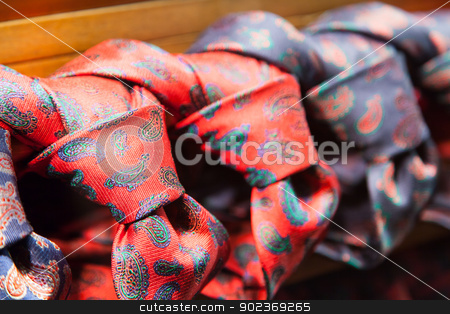 Ties with style stock photo, Milano - Italy. Detail of  ties in a luxury shop by Perseomedusa