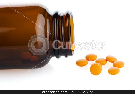 Pills from bottle stock photo, Pills from bottle on the white background. by Homydesign 