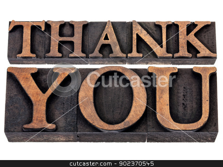 thank you  in wood type stock photo, thank you  - isolated text in vintage letterpress wood type printing blocks by Marek Uliasz