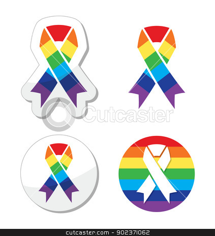 Rainbow flag ribbon - symbol of gay pride and support for the GLBT community stock vector clipart, Ribbons set - gay / lesbian symbol isolated on white by Agnieszka Bernacka