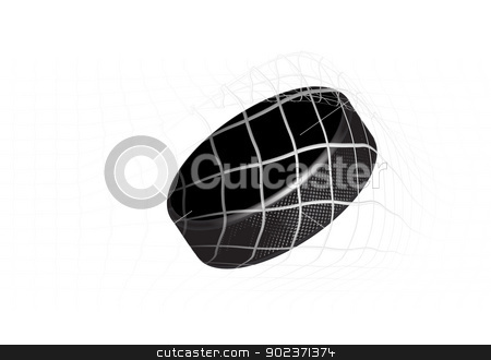 Hockey Puck stock photo, Goal - a hockey puck in the net. Vector illustration by sermax55