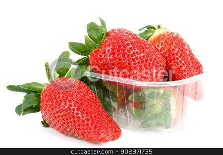 fresh strawberries in box on white stock photo, fresh strawberries in box on white background by Artush