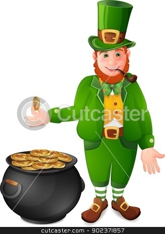 Leprechaun with cauldron full of gold coins stock vector clipart, Leprechaun with cauldron full of gold coins isolated  on white by Loradora