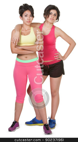 Confident Workout Girls stock photo, Confident young women in workout clothes on white background by Scott Griessel